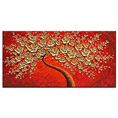 Okbonn-100% Hand Painted 3D Oil Painting On Canvas Gold and Red Flowers Wall Art Abstract Art Floral Artwork Modern Pictures Home Decor Ready to Hang For Living Room Bedroom Office Decor(20X40 inch)