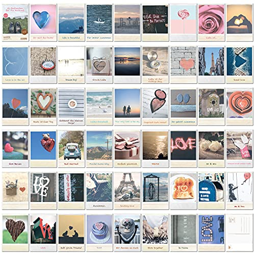 Lot de 52 cartes postales de mariage vintage - Jeu de cartes pour 52 semaines - Carte postale d'amour pour le couple de mariés, comme un livre d'or pour les invités - DIN A6 (10,5 x 14,8 cm)