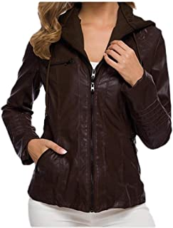 Howely Women Bomber Basic Style Oversized Tops Outwear Leather Hooded Jacket