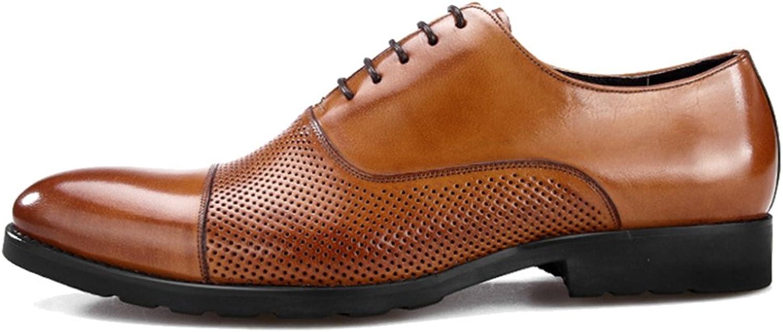MERRYHE Herren Sandalen Echtleder Mesh Oxford Loch Spitz Business Formale Kleid Schuhe Für Hochzeit Work Party
