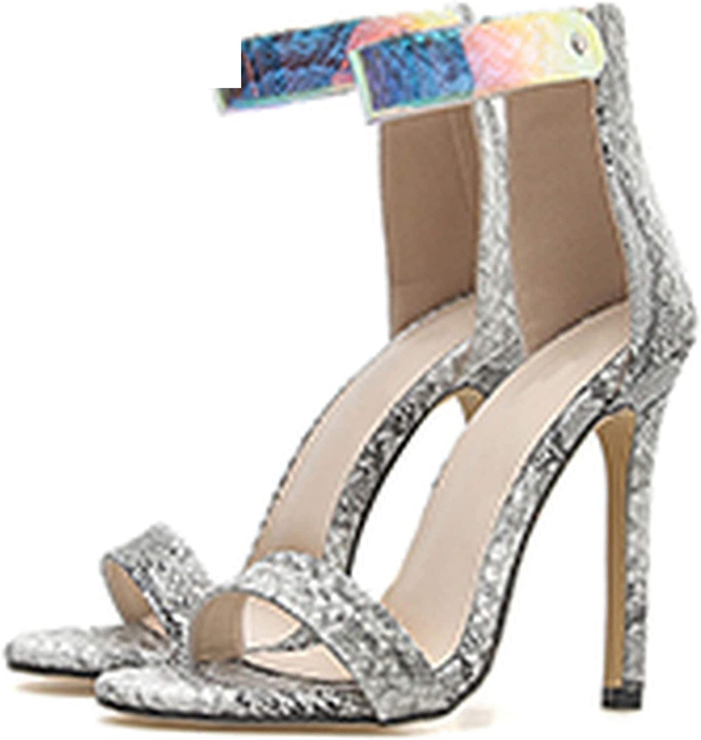 Ches Sexy Women High Heel Sandals Ankle Strap Peep Toe Print Snakeskin shoes Woman Club Footwear Sandals Size 35-40