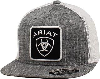 قبعة رجالي من ARIAT مطبوع عليها شعار 110 مقاس كبير بلون رمادي قابل للتعديل