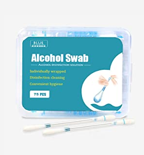 75ct Disposable Alcohol qtips cotton swabs Emergency Care Sanitary Makeup Cotton Buds Tip for Women Men Baby (Alcohol Stic...