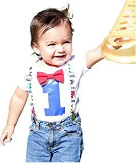 Noah's Boytique Baby Boys 1st Birthday Outfit First Bodysuit with Bow Tie and Suspenders