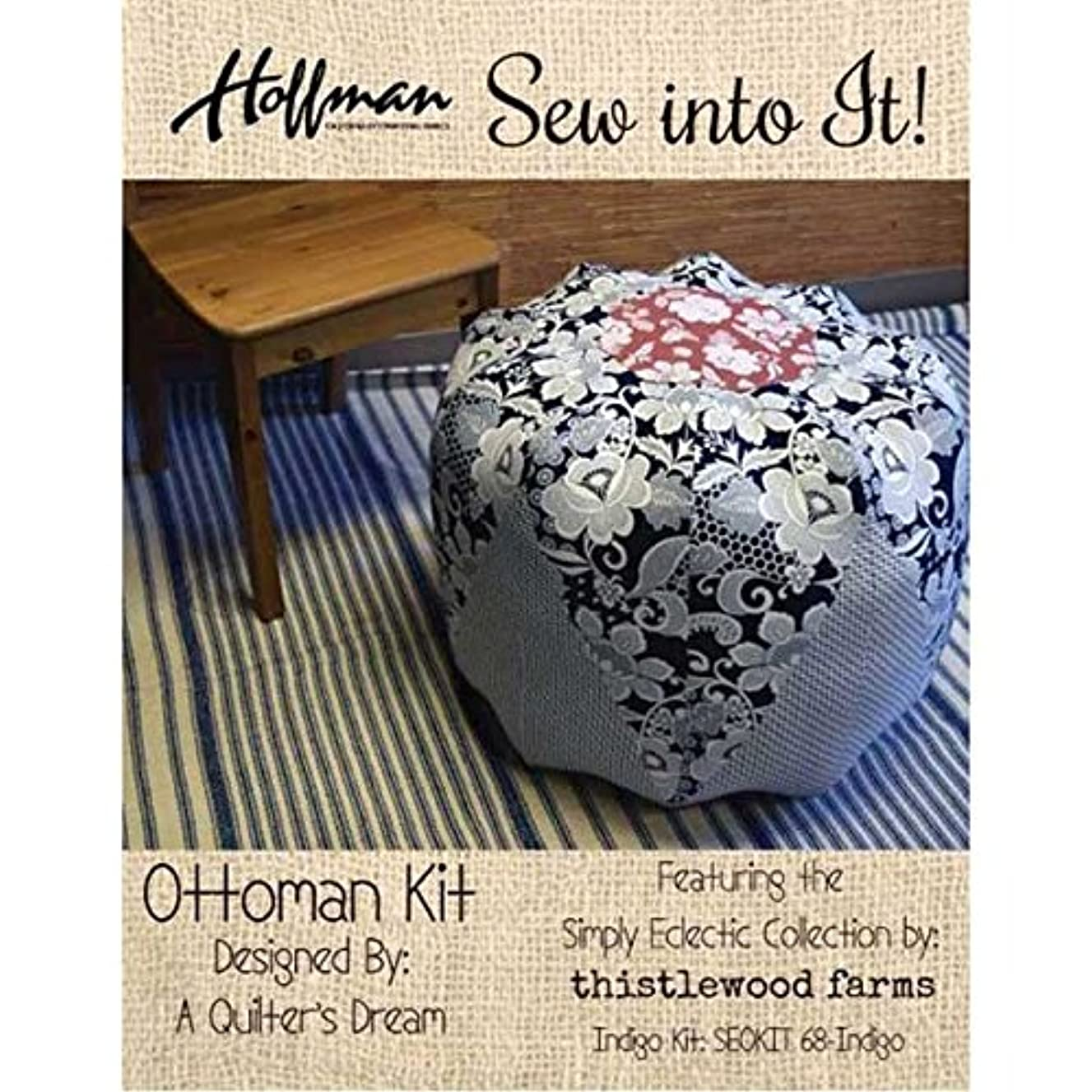 Hoffman Fabrics Simply Eclectic by Karianne Wood Thistlewood Farms Indigo Ottoman Kit