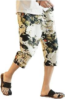 VskaMen VSKA Hombre Verano Algodon/Lino diversas Imprimir Estilo Etnico Medio Pantalones Cortos