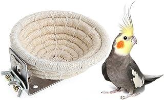 Keersi - Cama nido de algodón hecha a mano para periquitos, loros y pájaros, con soporte incluido