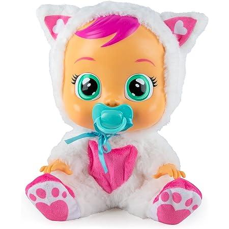 CRY BABIES Daisy il gatto - Bambola interattiva che piange lacrime vere con ciuccio e Pigiama, per Bambini e Bambine dai 2 Anni