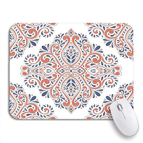 VICAFUCI Mauspad,rechteckig,Anti-Rutsch-Mauspad,Blau und Orange auf traditionellen türkisch-indischen Paisley-Motiven,Maus,Computer,Mausunterlage,Unterlage,Schreibtisch,Schreibtischunterlage