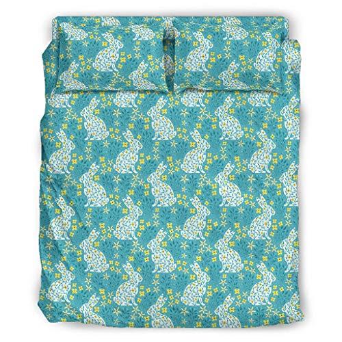 WellWellWell Juego de cama transpirable de 4 piezas, diseño de conejo de...