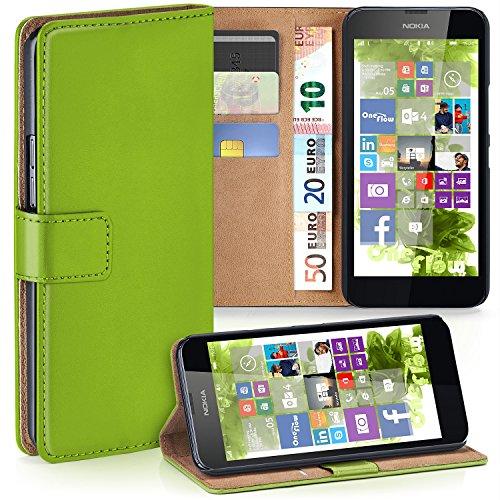 MoEx Premium Book-Case Handytasche kompatibel mit Nokia Lumia 630 | Handyhülle mit Kartenfach und Ständer - 360 Grad Schutz Handy Tasche, Grün