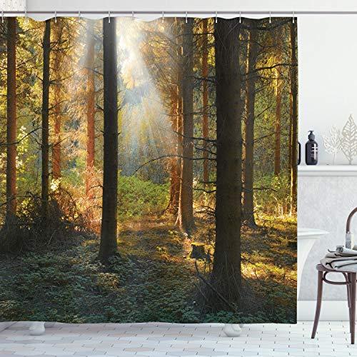 ABAKUHAUS Wald Duschvorhang, Sonnenuntergang Dunkle Kiefer, Moderner Digitaldruck mit 12 Haken auf Stoff Wasser & Bakterie Resistent, 175 x 200 cm, Orange Green