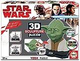 Educa-3D 3D Sculpture Puzzle Star Wars Yoda, Montar y Pintar, Incluye Pinturas y Pincel, 6 años (17801)