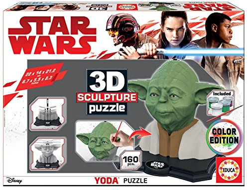 Educa Borras - 3D Sculpture Yoda, Colour Edition Star Wars Puzzle (17801)