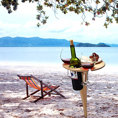 Porta bicchiere da vino, tavola da vino portatile in legno, bottiglia di vino pieghevole e tazza portaschietta, uso per campeggio, attività all'aperto, spiaggia, giardino, viaggi