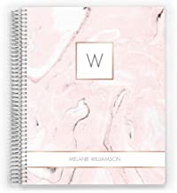 Custom Cover 2020 Daily Planner, Customized with Your Name, 4 Layout Options, Monogram Blush, 8.5 x 11 inch, by PurpleTrail