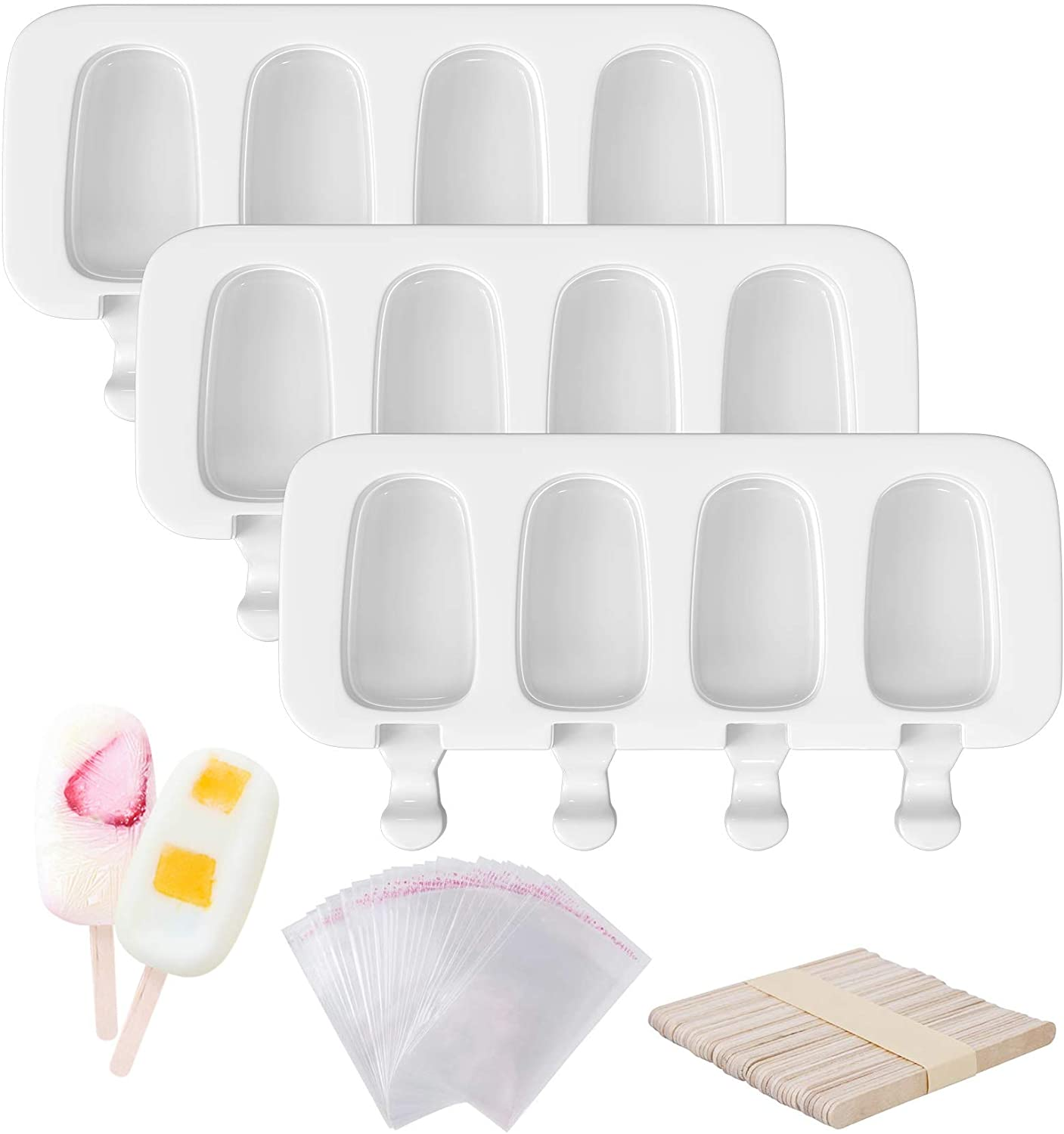 Ouddy 3 Pcs Popsicle 70% Max 80% OFF OFF Outlet 12 Molds Silicone Cavities