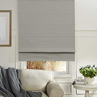 Artdix Roman Shades Blackout Window Shades - Grey 20 W x 36L Inches Faux Linen Fabric Custom Solid Lined Roman Shades Blinds for Windows, Doors, French Doors, Kitchen Windows
