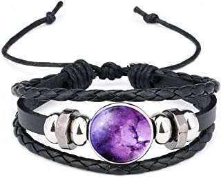 Womens Multi Color Handmade Natural Nebula Galaxy Space Glass Cabochon Braided Leather Bracelets Punk Jewelry Gift Men Women