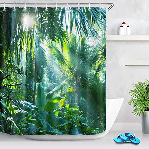 LB 150x180cm Duschvorhang Grün Bananen Blätter im Wald Wasserdicht Antischimmel Polyester Badezimmer Gardinen mit 10 Haken,Tropischer Dschungel Pflanze
