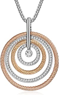 Ouran Circle Pendant Necklace for Women,Rose Gold or Silver Long Chain Necklace with Crystal for Friends