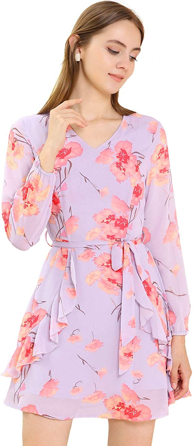Allegra K Women's Floral Print V Neck Ruffle Front A-line Belted Flowy Dress