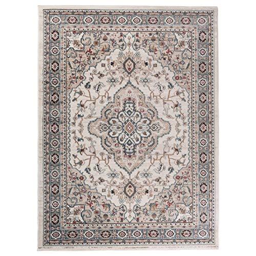 Carpeto Traditioneller Orientalischer Teppich - Kurzflor - Weicher Teppich Perser für Wohnzimmer Schlafzimmer Esszimmer - ÖKO-TEX Zertifiziert - AYLA - 160 x 220 cm - Creme