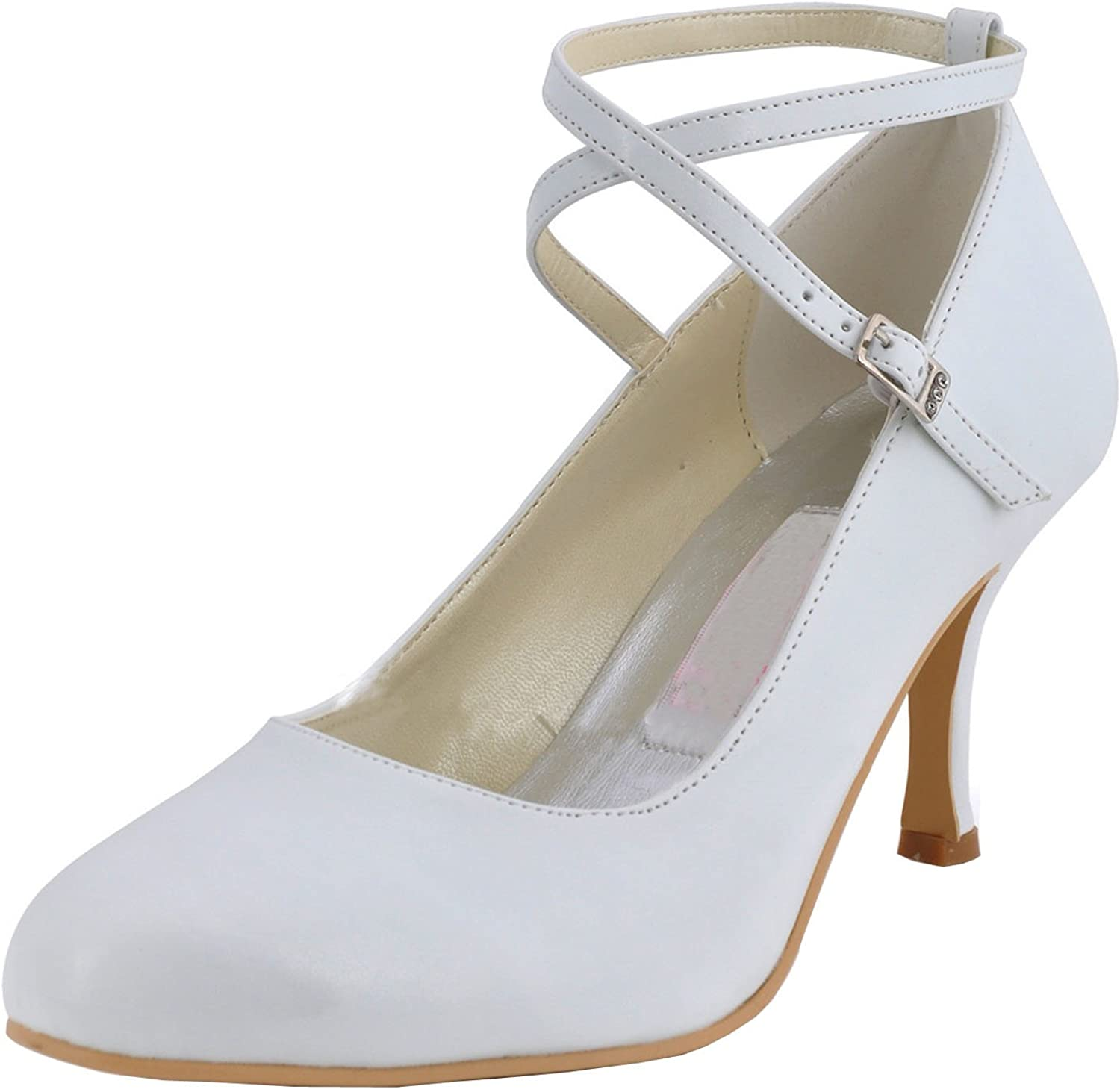Minishion MZ615 Womens Round Toe High Heel Mary Jane Bridal Wedding Satin Buckle Pump shoes