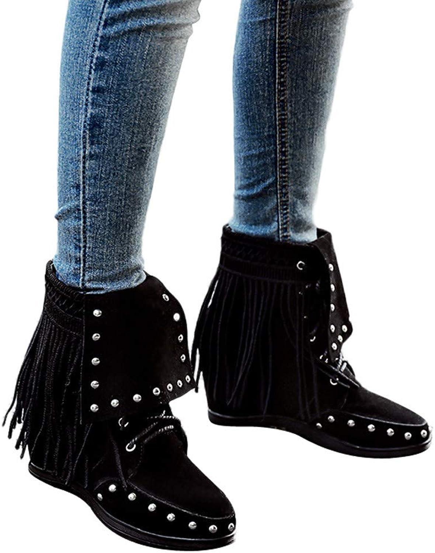 Fheaven Women's Suede Platform Boots Fashion Tassel Sneaker shoes Winter Lace Up Cotton Snow Boots Yellow