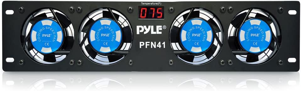 "19"" Rack-Mount Equipment Cooling Fans - 110V/60Hz Power, 4 Cooler Master 80mm Case Fans, Smart Cooling System, Digital LCD Temperature Display & Installation Hardware Screw Included - PylePro PFN41"