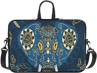 Day of The Dead Colorful Sugar Skull Indian Elepha Pattern Briefcase Laptop Bag Messenger Shoulder Work Bag Crossbody Hand...