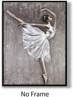 Lamplig Unframed Large Canvas Wall Art Hand Painted Oil Painting 36.6 x 48.4 Inch Modern Ballet Print Gray White Ballerina Dancer Picture Artwork Home Decor for Living Room, Frame Not Included