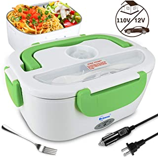 Benooa Electric Lunch Box Food Heater for Car and Home,12V/110V Portable Food Warmer Heating Container 2 In 1 Food-Grade Stainless Steel Food Container with Fork and Spoon for Men/Women,1.5L