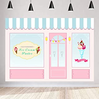 Ice Cream Birthday Backdrops 7x5ft Ice Cream Parlor Backdrop Pink Background for Baby Shower Party Cake Table Banner Vinyl Photo Booth Props