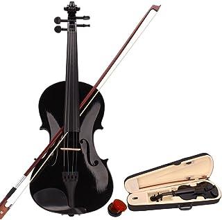 wuddi Acoustic Violin Fiddle 4/4 سایز کامل با کاسه مخصوص روزین برای دختران پسر بچه های بزرگسال بزرگسال (سیاه)
