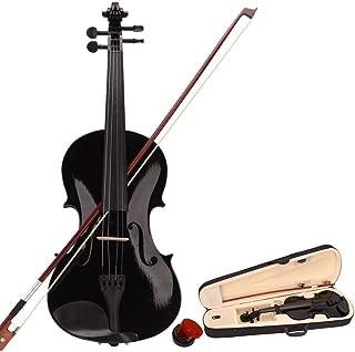 LAGRIMA 4/4 Beginner Kid Violin, Handcrafted Acoustic Violin Beginner Kit, Case, Bow and Rosin, Black