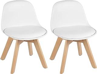 WOLTU Lot de 2 Chaise d'enfant Stable avec Dossier,Fauteuil Enfant pour Chambre d'enfants,Blanc KST005ws-2