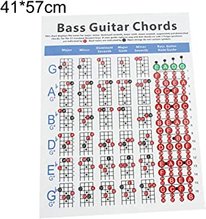 qiguch66 Guitar Fingerboard Bass Fretboard Scale Bass Practice Guitar Accessories,4 Strings Electric Bass Guitar Chord Chart Music Instrument Practice Accessories L