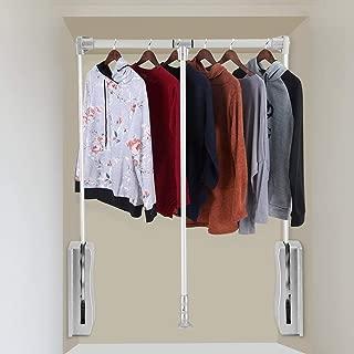 TOPINCN Lift Pull Down Closet Rod Wardrobe Hanger Adjustable Aluminum Space Saving Wardrobe Rail for Hanging Clothes (830-1150mm)