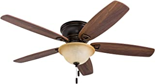 """Honeywell 50517-01 Quick-2-Hang Hugger Ceiling Fan, 52"""" Dimmable LED Sunset Fixture, Easy Installation Cimmeron/Ironwood Blades, Oil Rubbed Bronze"""
