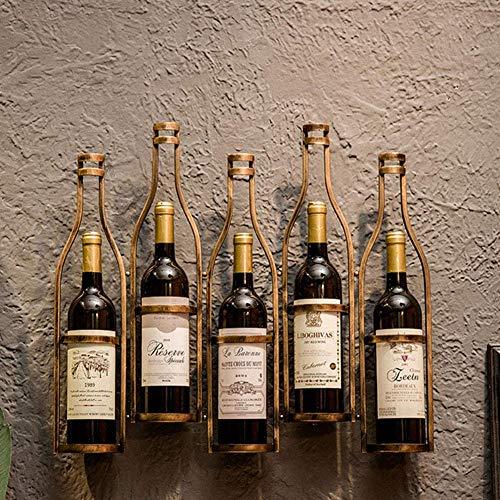 BFDMY Soporte para Botella De Montaje En Pared Estante para Vino Soporte para Botella De Hierro Forjado Estante De Pared para Vino 5 Botellas Decorativas para Sala De Estar O Cocina,Oro