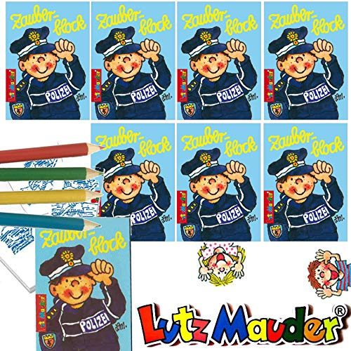Lutz Mauder 8 x Zauberblöckchen * Polizei * in DIN A8 Plus Buntstifte im Set | Zauberblock Mitgebsel für Kindergeburtstag | Polizist und Polizeiauto