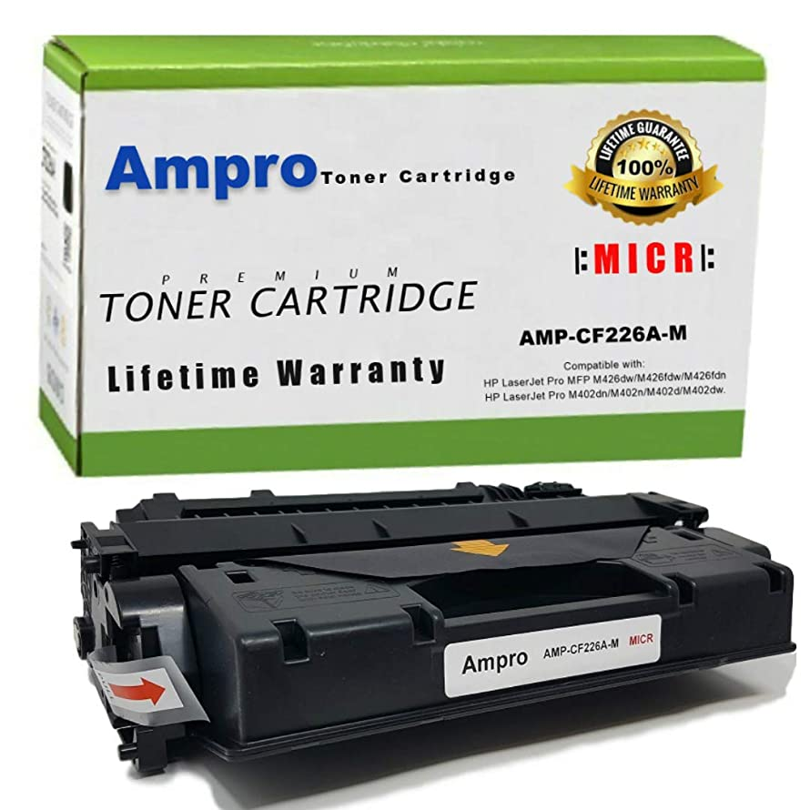 Ampro's CF226A MICR Compatible Toner Cartridge Replacement for HP CF226A Micr or HP 26A for HP LaserJet Pro M402 M426 MFP Series.