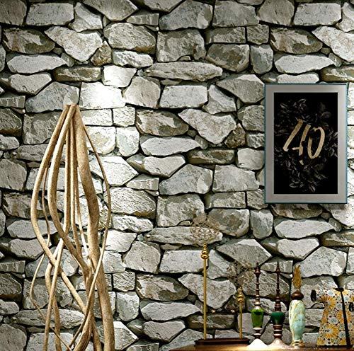 Behang 3D vlies woonkamer-barcafé De retro nostalgische persoonlijkheid steenmotief toiletsteenbehang woonkamer 300 x 210 cm.