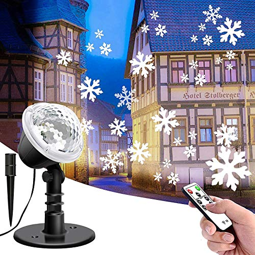 Snowflake Projector Lights with Remote Control, LIGHTESS Indoor Outdoor Christmas Light Decoration, Snow LED Projection Light for Halloween Xmas, BS121