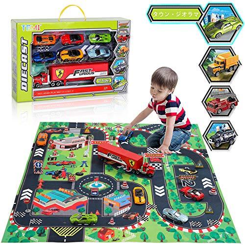 TEMI ミニカー ダイキャストカー モデルカー 合金車 電車 乗り物 おもちゃ プレゼント プレイマット 玩具慣性車 女の子 男の子 知育玩具 子供玩具 誕生日