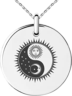 Tioneer Stainless Steel Sun & Moon Yin Yang Symbol Small Medallion Circle Charm Pendant Necklace
