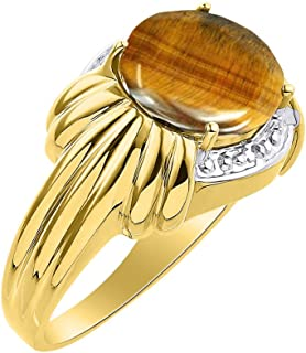 Diamond & Tiger Eye Ring Set In Yellow Gold Plated Silver - 12 X 10MM Color Stone Birthstone Ring