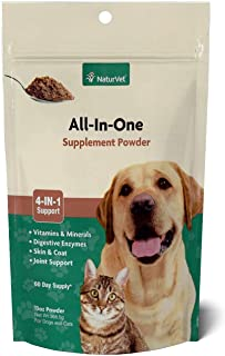 NaturVet All-in-One Dog Supplement - for Joint Support, Digestion, Skin, Coat Care – Dog Vitamins, Minerals, Omega-3, 6, 9...