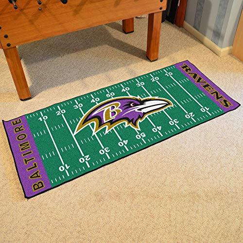 "FANMATS 7344 NFL Baltimore Ravens Nylon Face Football Field Runner Team Color, 30""x72"""